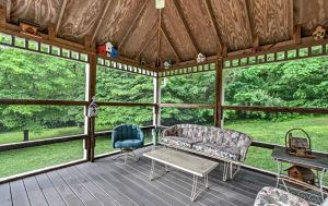 Smoky Mountain wedding gazebo, screened-in gazebo, gazebo porch furniture, gazebo weddings in the Smokies,
